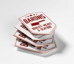 Restaurant Barons small silkx custom shape colored edges scaled JCP Print Solutions